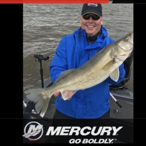 Jim Catching his biggest walleye ever on Lake Pepin with Ruttting Ridge Outfitters out of Lake City, MN