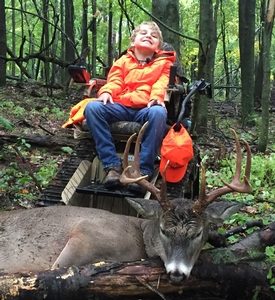Check this video out in video gallery of the Buffalo county 10 pointer killed by Jake aged 10 out of his ACTION TRACK CHAIR.